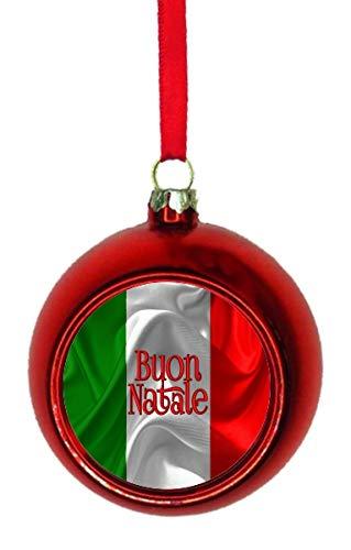 Buon Natale Ornament.Amazon Com Jacks Outlet Flag Italy Buon Natale Red Bauble Christmas