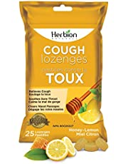 Herbion Naturals Cough Lozenges with Natural Honey Lemon Flavour, 25 Lozenges - Relieves Cough, Clears Nasal Congestion, Soothes Sore Throat; For Adults and Children 12 years and above