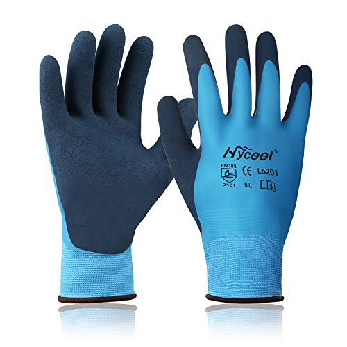 DS Safety L6201 Waterproof Work Gloves 13 Gauge Hycool Grip Men's Working Gloves Double Coated Nylon Gloves with Comfortable Latex Foam for Multipurpose Use 1 Pair(L) (Best Waterproof Work Gloves)