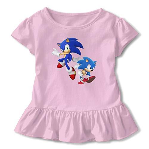 MDClothI Girl's Sonic Hedgehog Leisure Short Sleeve Ruffled T-Shirts 4T Pink]()