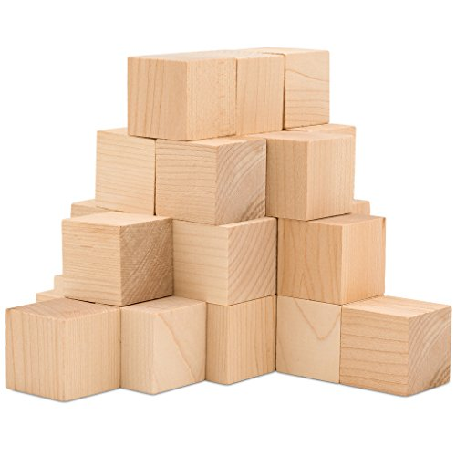 "Wooden Cubes – 1.5"" Inch - Baby Wood Square Blocks – For Puzzle Making, Crafts, And DIY Projects –24 Pieces by Woodpecker (Wood Baby Blocks)"