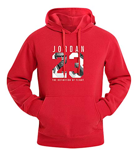 Mancave Men Kangaroo Pocket Slim Jordan 23 Printed Full Sleeve Sporty Hoodie, Red M,Manufacturer(XL)
