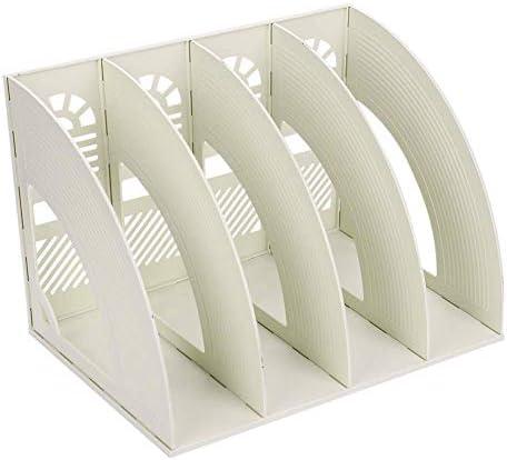 KXF Schreibtisch-Ordner, 4 Abschnitte, stabil, Kunststoff, Zeitschriftenhalter, Rahmen, Ordnerregal, Ablage und Aufbewahrung für Schule, Büro, Papier beige