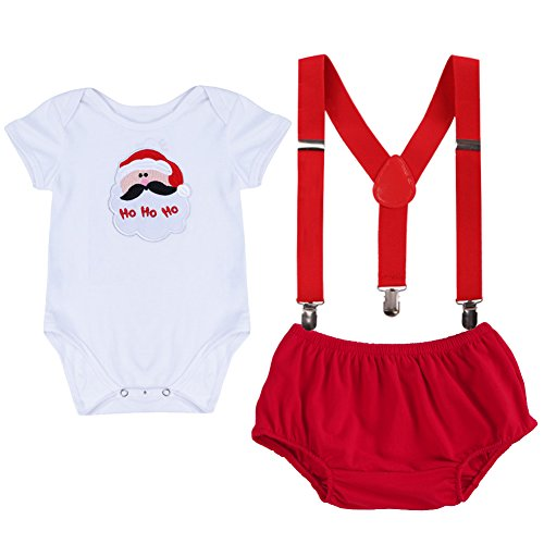 Costume Nerd Pants Girl (Baby Girls Boys Newborn My First Christmas Picture Costume Short/Long Sleeve Romper+Y Back Clip Suspenders+Striped Pant Outfits)