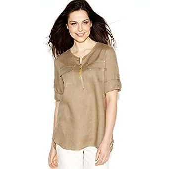Ellen Tracy Women S Roll Tab Sleeve Linen Tunic Front Zip