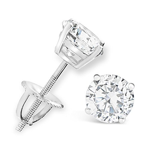 2 Carat Solitaire Diamond Stud Earrings Round Cut 4 Prong Screw Back Platinum (I-J Color, I2=I3 Clarity)