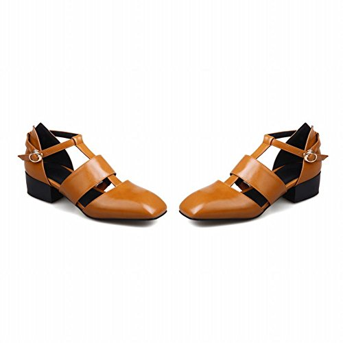 Mee Shoes Women's Fashion Square Toe Buckle Court Shoes Yellow 4fVdW
