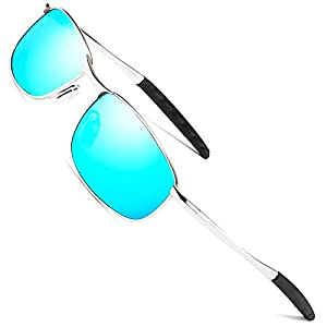 FEIDU Sport Polarized Sunglasses for Men Stylish HD Lens Metal Frame Men's Sunglasses FD 9005 (Blue/Silver, 2.24)