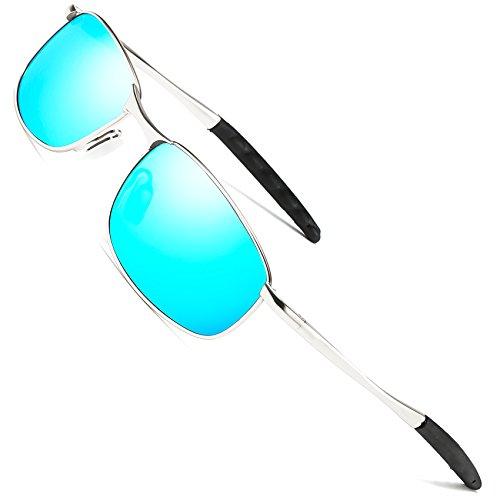 41a22087c89 FEIDU Sport Polarized Sunglasses for Men Stylish HD Lens Metal Frame Men s  Sunglasses FD 9005 (Blue Silver