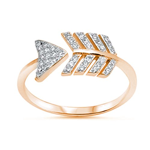 Sideways Arrow Ring Rose Tone Rhodium Solid 925 Sterling Silver Round Clear White CZ Dainty, Size-9 (Round Pave Micro Ring)