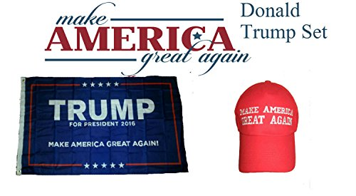 3 ft x 5 ft Donald Trump 2016 President Make America Great Again Red Hat Flag Set for Home and Parades, Official Party, All Weather Indoors Outdoors -