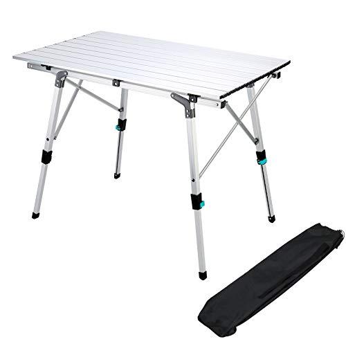 Synlyn Mesa plegable de camping de aluminio plegable, altura regulable, mesa de jardin con bolsa de transporte, 90 x 52 cm, mesa de viaje para balcon, picnic, pesca, camping, caravana