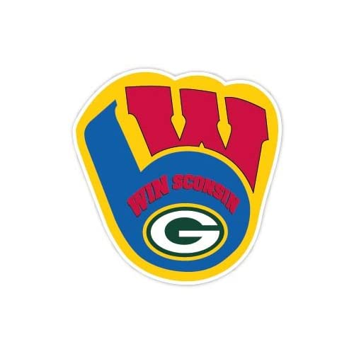 "new Wisconsin Fan Packers Brewers Badgers Sport Combo Logo 4""x4"" Sticker Decal Vinyl"