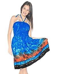 La Leela Soft Smooth Likre Beachwear Hawaiian View Maxi Skirt Short Tube Blue