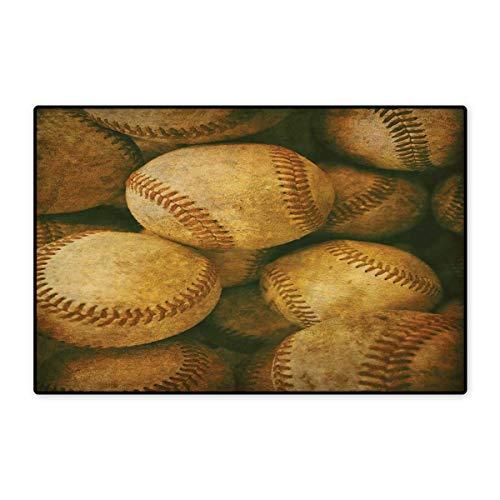 ll Rug Vintage Baseball Backgorund American Sports Theme Nostalgic Leather Retro Balls Artwork Bath Mat for Bathroom Mat 16