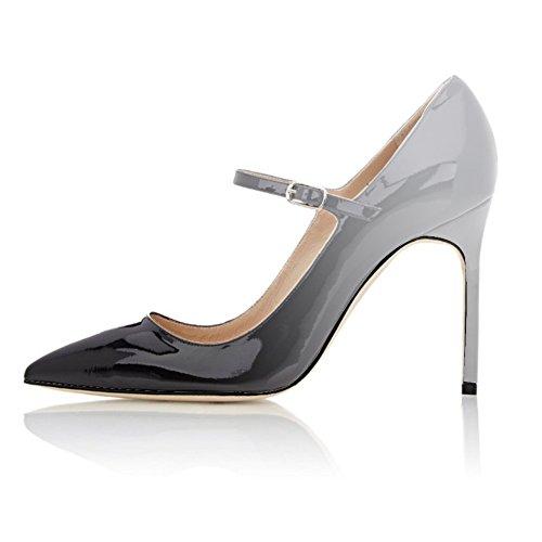Mary Grande Nero Con 10cm Cinturino Elashe Taglia Donna Tacco Jane Grigio Scarpe Alto qTSxpXw