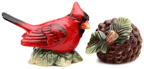 (Cosmos Gifts 3 1/8-Inch Evergreen Holiday Cardinal Salt and Pepper)