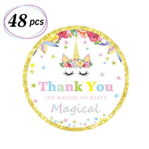 Magical Unicorn Stickers Unicorn Themed Thank You Tags Birthday Party Favor Decor