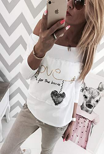 Maglietta Moda Simple Primavera Bluse Cucitura Fashion Jumper T e Spalla Casual Tops Giovane Shirts Obliqua Autunno Manica Lunga a Camicie Stampa Bianca Maglie Felpe Donne ZfWBqwxCrZ