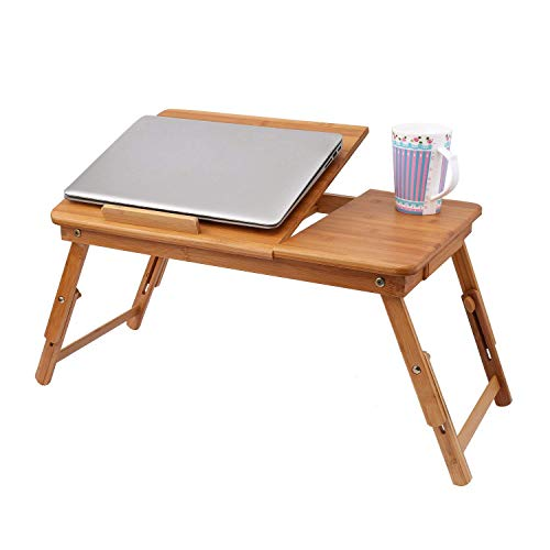 Kindsells Foldable Laptop Desk, Adjustable Portable Laptop Notebook Bamboo Desk, Multi Function Table Stand Bed Tray with USB Tray Drawer ()