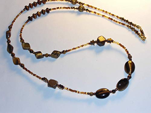 Tiger's Eye Beaded Necklace Handmade Amber Mix 28 inches NEW (Beaded Print Animal Necklace)