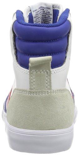 Hommel Sneaker Hoge Unisex Volwassen - Stadil Hoge - Casual Schoenen Black & White - Half Schoen Leder / Velours - Classic Sneakers - Sneaker Comfortzool Wit (wit / Blauw / Rood / Tandvlees)