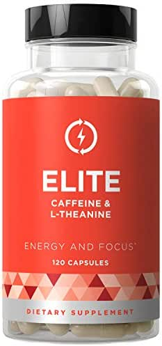 Elite Caffeine with L-Theanine - Jitter-Free Focused Energy Pills - Natural Nootropic Stack for Smart Cognitive Performance - 120 Soft Capsules