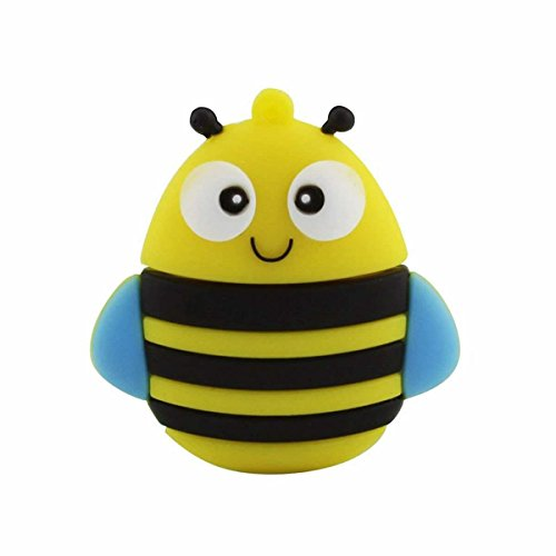 Novelty Bee Shape Design 16GB USB 2.0 Flash Drive Cute Memory Stick Honeybee Insect Thumb Drive Data Storage Pendrive Cartoon Jump Drive Gift by QICAIHU