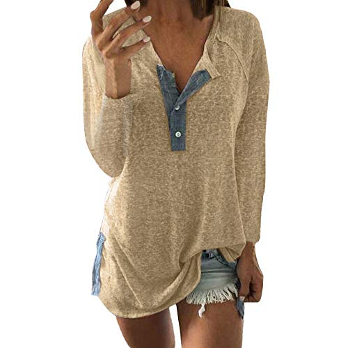 CUCUHAM Women Casual Loose Patchwork Button Long Sleeve Blouse T Shirt Tops(Beige,US:4/CN:S)