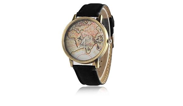 Amazon.com : Mens Watches World Map Watch by Plane Watches Women Men Denim Fabric Watch Quartz Relojes Mujer Relogio Feminino Gift Womens Watches (Color ...