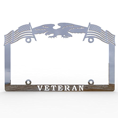 Polished Chrome Eagle - Polished Stainless Chrome Car Truck License Plate Frame Veteran Eagle American Flag Veteran - 1 Piece - Ferreus Industries - LIC-144