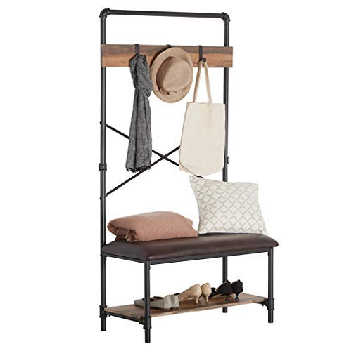 Homissue Industrial Pipe Hall Tree with Storage Bench, 2 Shelf Shoe Rack with 3 Hooks for Entryway and Hallway, Shoe Bench with Cushion, Retro Brown - Industrial Pipe Design: constructed with metal pipe frame and MDF board, add this sturdy hall tree to the entryway or hallway to complement a farmhouse aesthetic. It features padded upholstery for the seat that provides you with more comfort, a row of three hooks give you space to hang up coats, hats or other out-the-door essentials. The open shelf at the bottom that has ample space to hold several pairs of shoes, other footwear or any necessary things. A elegant addition to your entry, mudroom, office or apartment. - hall-trees, entryway-furniture-decor, entryway-laundry-room - 41llHovy9YL -