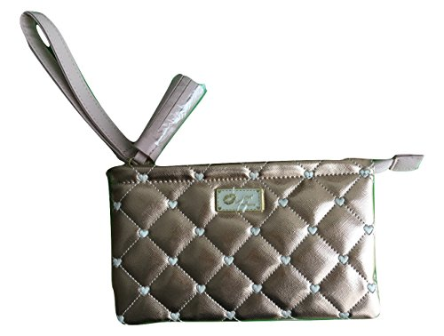 Betsey Johnson Rose Gold Quilted Heart Wristlet Purse