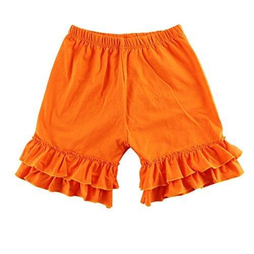 Wennikids Baby Girl Double Ruffle Cotton Girl Shorts Medium Orange