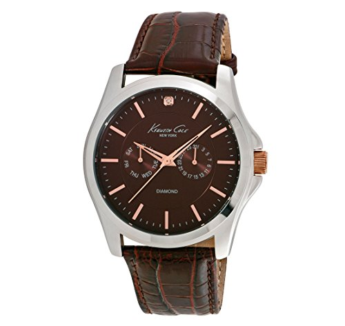 Kenneth Cole 10022313 Men's Genuine Diamond Silver Watch with Brown Croco Leather - Band Croco Brown Leather