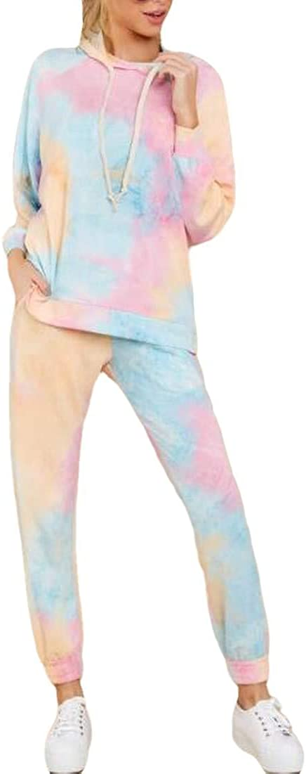 Valoda Women Tie Dye Print Hoodie Two Piece Outfits Tracksuit Jogging Suit Set