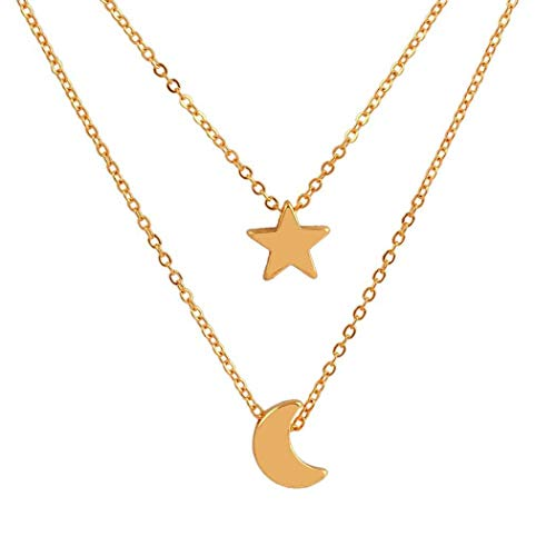 Luvalti Moon and Star Galaxy Cosmic Moon Pendant Necklace, 17.5'' Chain, Great Gift for Women (Find The Moon In The Sky App)