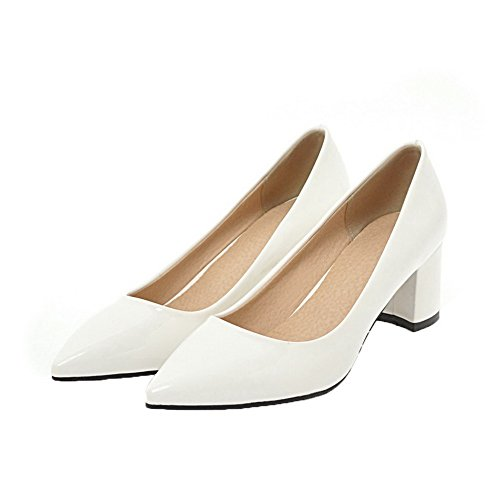 Odomolor Women's Closed-Toe Kitten-Heels Patent Leather Pull-On Pumps-Shoes White fE9br