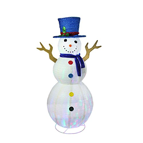 72'' Pre-Lit LED Multi-Color Embossed Snowman with Top Hat Outdoor Christmas Yard Art Decoration by Northlight