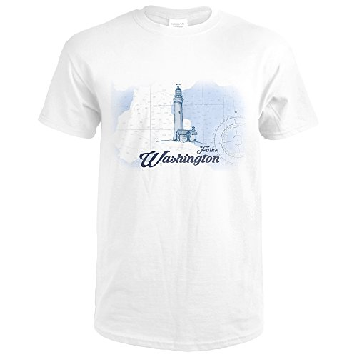 Washington Forks (Forks, Washington - Lighthouse - Blue - Coastal Icon (Premium White T-Shirt XX-Large))