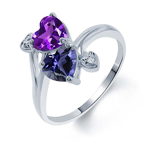 Gem Stone King 1.26 Ct Heart Shape Purple Amethyst Blue Iolite 925 Sterling Silver Ring (Size 8) ()