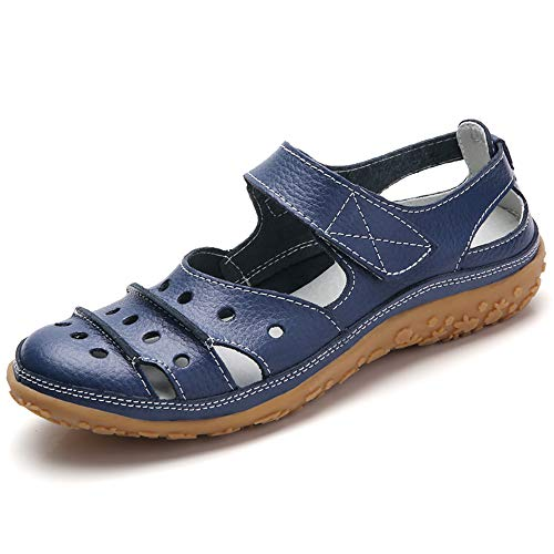 Fortuning's JDS Soft Leather Flat Sandals for Women, Summer Casual Shoes Comfortable Lightweight Non-Slip Sole Velcro Strap Hollow Closed Toe Sandals, Navy Blue-dot, 8.5