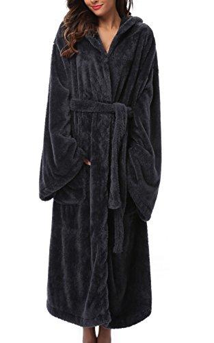 1stmall Fleece Robe, Long Hooded Bathrobe for Women's with Soft Velvet Bathrobe Dark Black