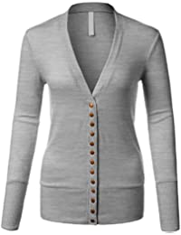 Women's Long Sleeve Knit Buttoned Closure Cardigan With...