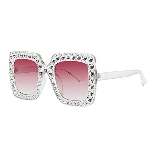 ROYAL GIRL Sunglasses Women Oversized Square Crystal Brand Designer Shades (Clear Pink Gradient, - Sunglasses Shades Brand