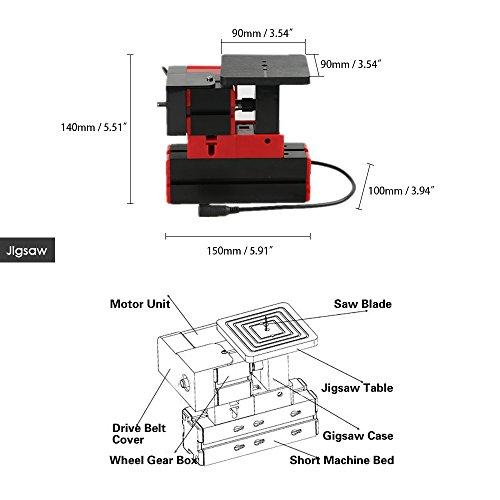 KKmoon Mini Metal Lathe DIY 6 in 1 Multi-functional Motorized Transformer  Multipurpose Machine Jigsaw Grinder Driller Plastic Wood Lathe Drilling