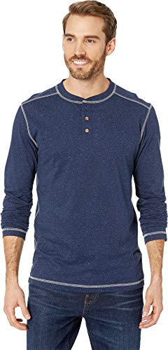 Vintage 1946 Men's Speckled Jersey Henley Navy Small