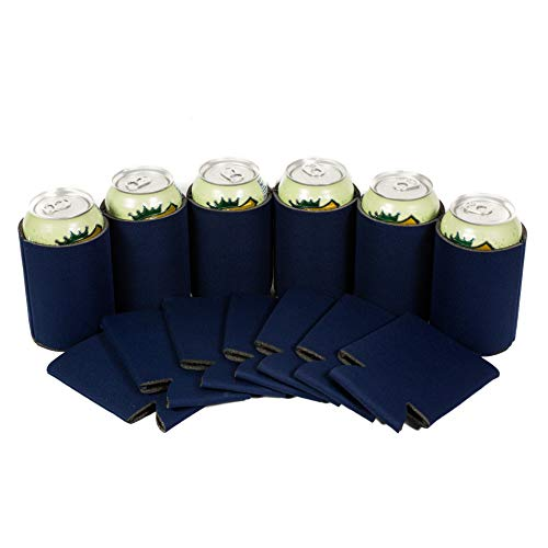QualityPerfection 12 Navy Blue Party Drink Blank Can Coolers(12,25,50 Bulk Pack) Blank Beer,Soda Coolies Sleeves | Soft,Insulated Coolers | 30 Colors | Perfect For DIY Projects,Holidays,Events