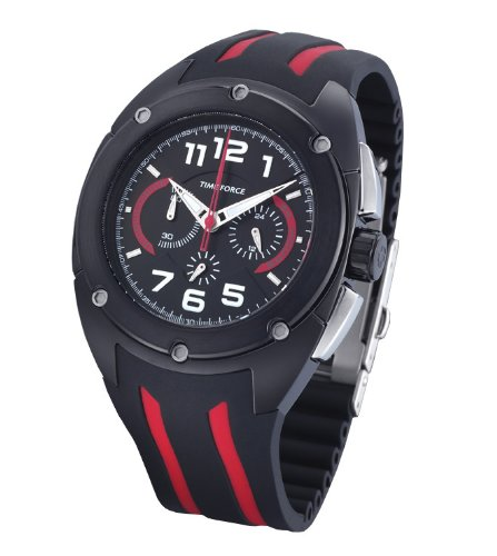 Time Force TF3132M14 - Reloj de Caballero de Cuarzo, Correa de Caucho Color Negro: Amazon.es: Relojes