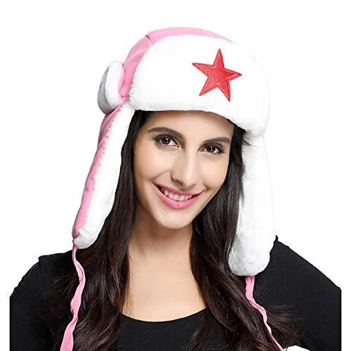CJC Sombreros Orejeras Unisexo Soldado Trampero Grueso De Los Hombres De Las Mujeres Caza Al Aire Libre SKI (Color : Pink, Tamaño : 55-60cm)